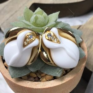 KJL for Avon White Rose Bud Earrings
